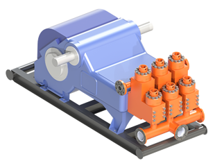 Mud Pump with Southwest L-Shaped Fluid End Modules